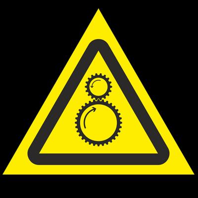 Знак - Осторожно. Возможно затягивание между вращающимися элементами W29