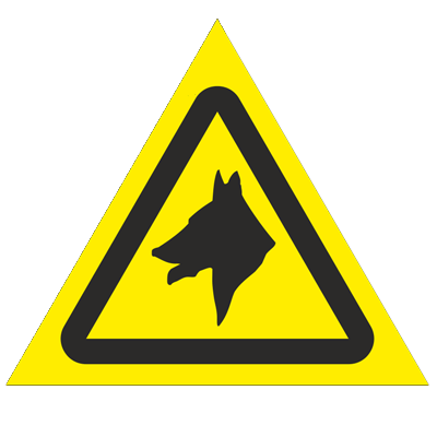 Знак - Осторожно. Злая собака W32